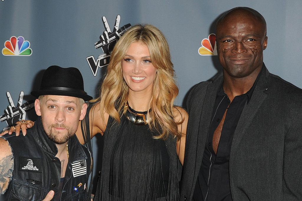 "Joel Madden, Delta Goodrem and Seal arrive at the screening of NBC's ""The Voice"" Season 4 at TCL Chinese Theatre on March 20, 2013 in Hollywood, California."