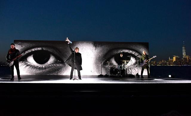 <p>The Edge, Bono, Larry Mullen Jr., and Adam Clayton of U2 perform remotely during the 60th Annual Grammy Awards on January 28, 2018, in New York City. (Photo: Getty Images) </p>