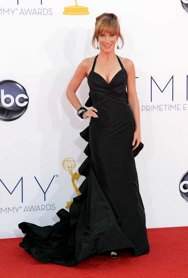 Kathy Griffin arrives at the 64th Primetime Emmy Awards at the Nokia Theatre on Sunday, Sept. 23, 2012, in Los Angeles. (Photo by Matt Sayles/Invision/AP)
