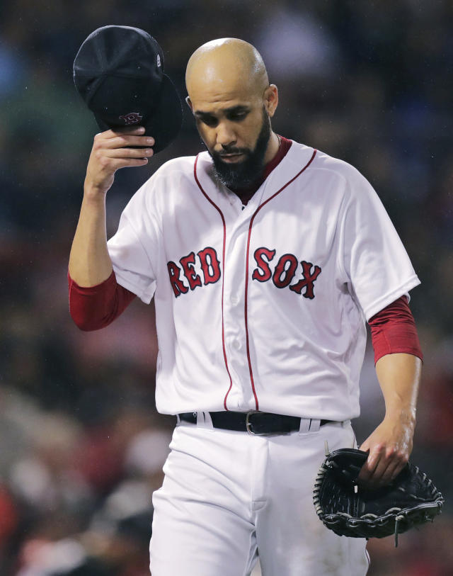 Boston Red Sox starting pitcher David Price heads to the dugout after throwing in the top of the third inning of a baseball game against the Chicago White Sox at Fenway Park in Boston, Tuesday, June 25, 2019. (AP Photo/Charles Krupa)