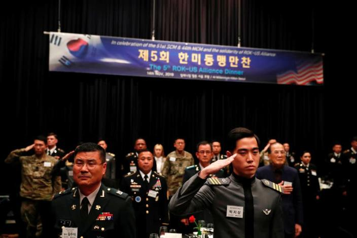FILE PHOTO: U.S. and South Korean soldiers attend the 5th ROK-U.S. alliance dinner in Seoul