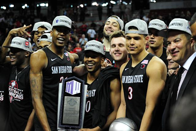 San Diego State beat New Mexico to win the Mountain West tournament, and to claim an automatic bid to the NCAA tournament. (Getty)