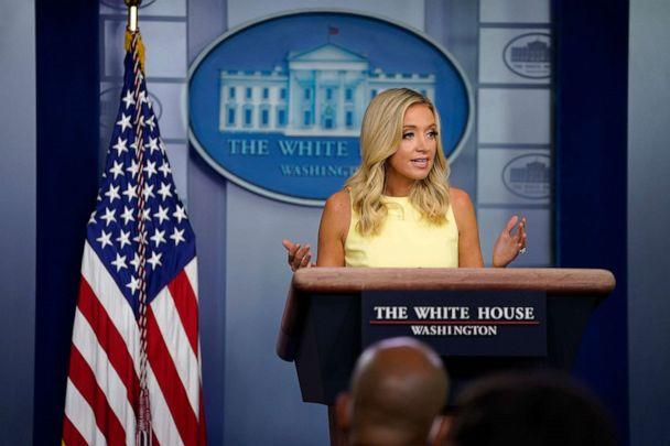 PHOTO: White House press secretary Kayleigh McEnany speaks during a press briefing at the White House, July 16, 2020, in Washington. (Evan Vucci/AP)