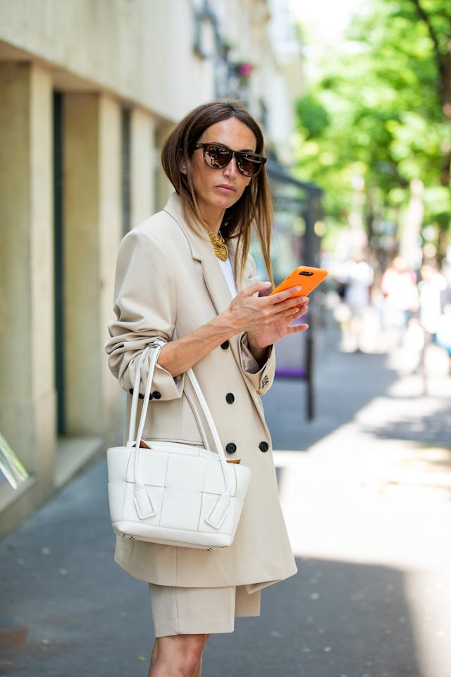 <p>Consider a suit in nude or tan for a tailored shorts look this season.</p>