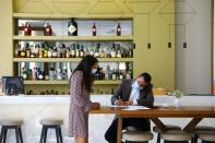 NH Collection Hotel staff is seen working as Portugal's northern city of Porto prepares to host the Champions League's final match and hotels and bars hope for a boost after the tourism sector was ravaged by the coronavirus disease (COVID-19) pandemic, in