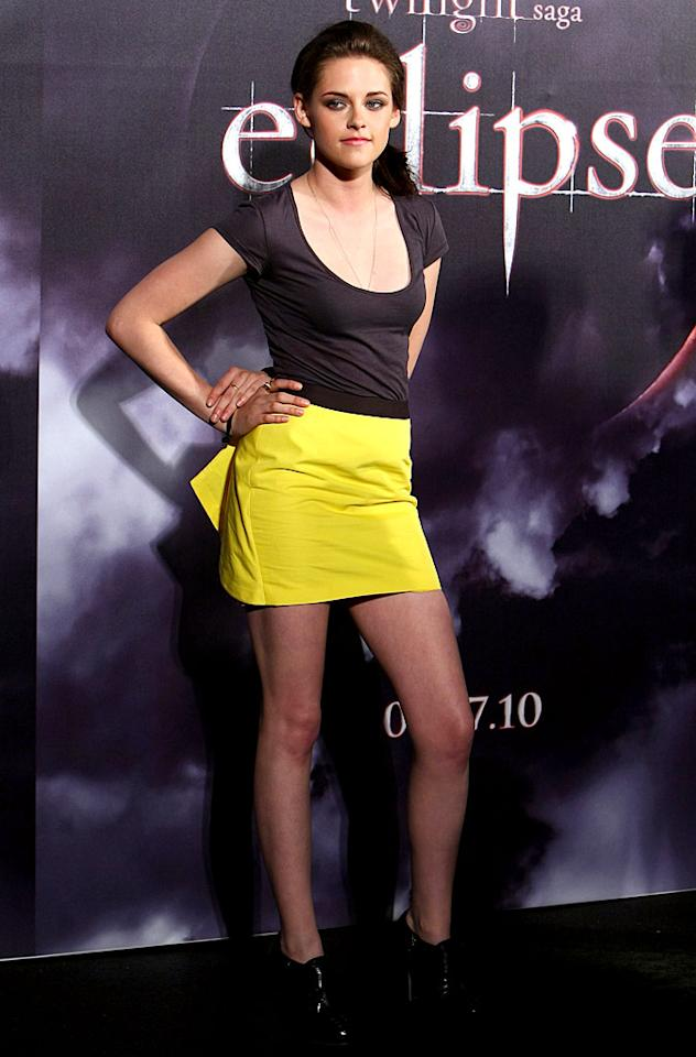 """Also looking fab while publicizing her latest project was Kristen Stewart, who stood out in Sydney at an """"Eclipse"""" event in a cute and casual outfit, which consisted of a gray Market Bridgette T-shirt, neon yellow Jenni Kayne skirt, and lace-up Sergio Rossi ankle boots. Don Arnold/<a href=""""http://www.wireimage.com"""" target=""""new"""">WireImage.com</a> - May 31, 2010"""