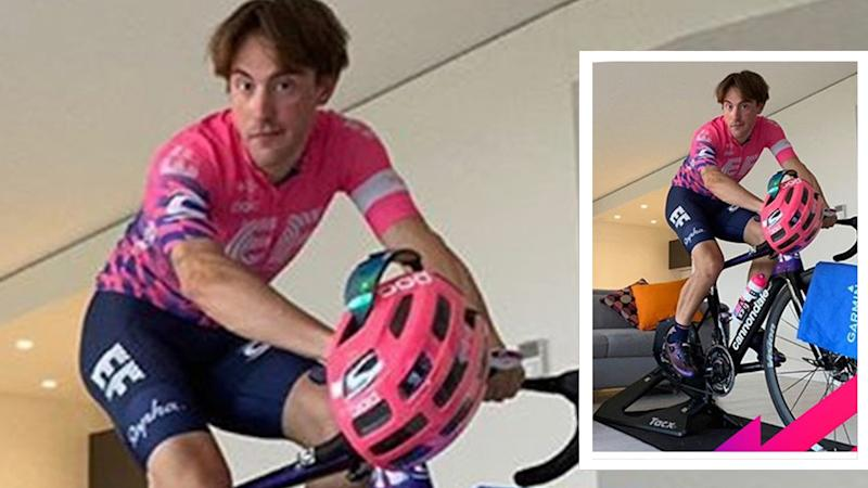 EF Pro Cycling rider Alberto Bettiol's comfort option. Let's hope that helmet was removed after the photo