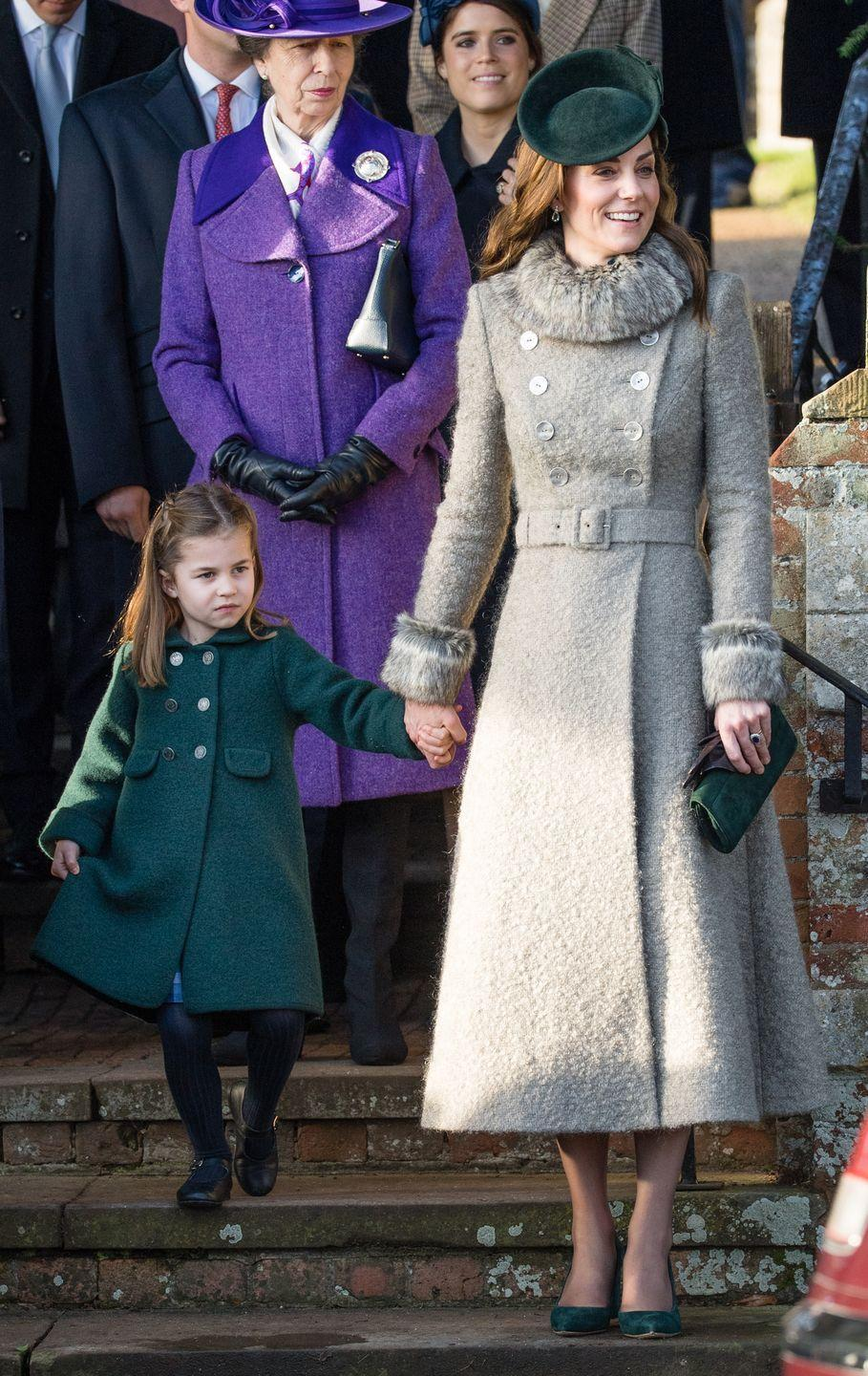 <p>The Duchess of Cambridge attends service at Church of St. Mary Magdalene on the Sandringham. She wore a coat by Catherine Walker. </p>