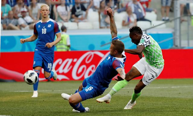 Soccer Football - World Cup - Group D - Nigeria vs Iceland - Volgograd Arena, Volgograd, Russia - June 22, 2018 Nigeria's Ahmed Musa scores their first goal REUTERS/Toru Hanai TPX IMAGES OF THE DAY