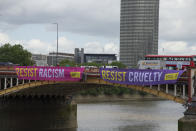 Amnesty Internationl fly banners from Vauxhall Bridge in London,UK on June 3, 2019 during President Donald Trumps three day state visit which begins today. (Photo by Claire Doherty/Sipa USA)