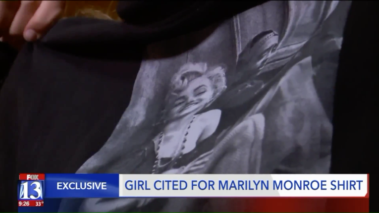 The sweatshirt the middle schooler was cited for wearing has images of Marilyn Monroe and Tupac Shakur on it. (Photo: Fox 13)