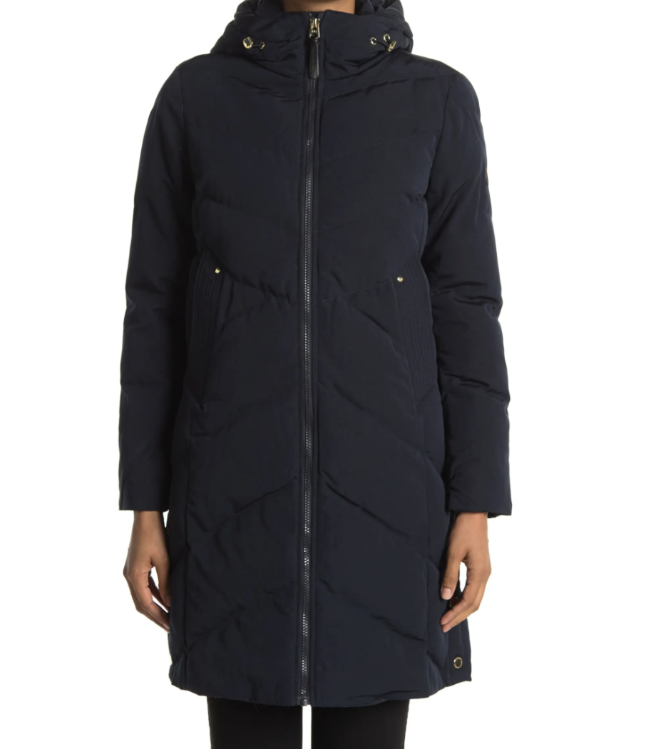 French Connection Hooded Long Puffer Jacket in dark black blue