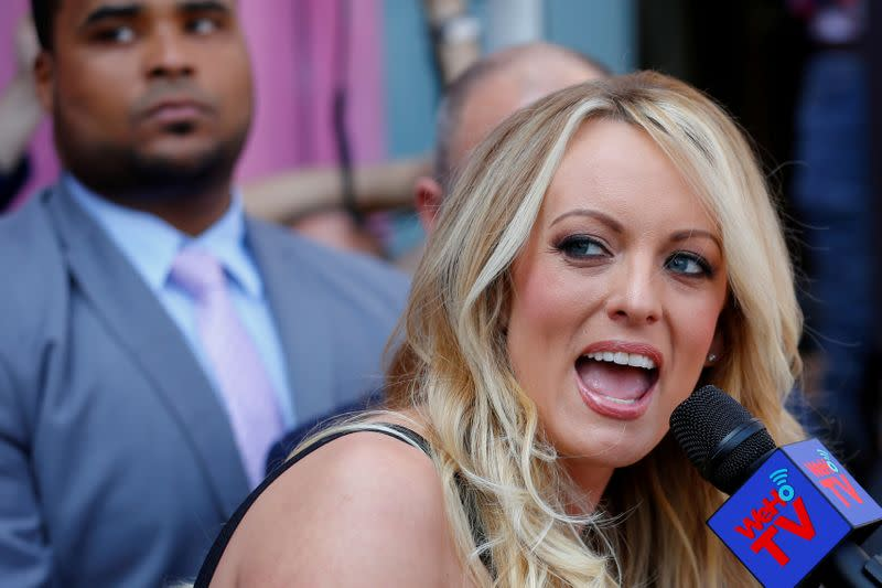 FILE PHOTO: Stormy Daniels speaks during a ceremony in her honor in West Hollywood, California