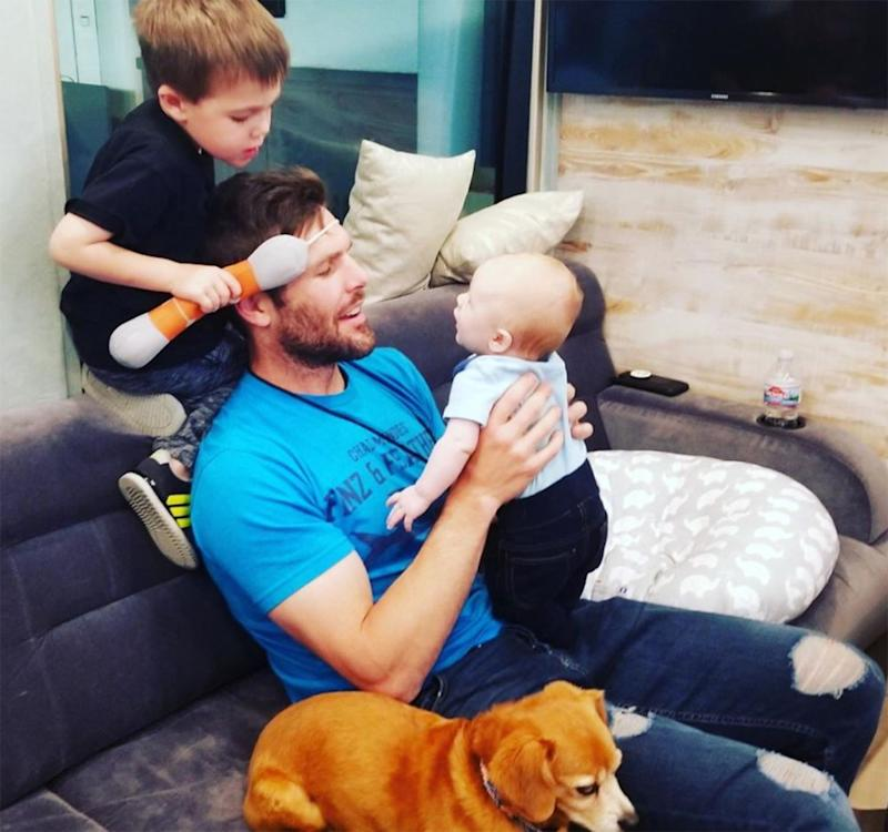 Mike Fisher with sons Isaiah (L) and Jacob | Carrie Underwood/Instagram