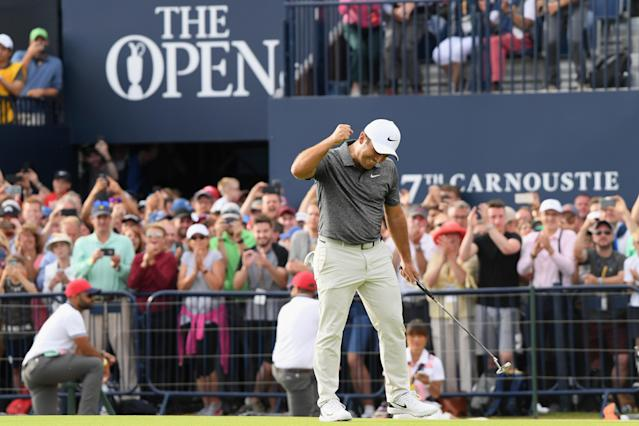 "<h1 class=""title"">147th Open Championship - Final Round</h1> <div class=""caption""> CARNOUSTIE, SCOTLAND - JULY 22: <a class=""link rapid-noclick-resp"" href=""/golf/european/players/Francesco+Molinari/3885"" data-ylk=""slk:Francesco Molinari"">Francesco Molinari</a> of Italy celebrates a birdie on the 18th hole during the final round of the 147th Open Championship at Carnoustie Golf Club on July 22, 2018 in Carnoustie, Scotland. (Photo by Harry How/Getty Images) </div> <cite class=""credit"">Harry How</cite>"
