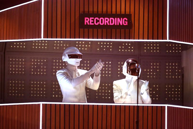 Daft Punk performs on stage at the 56th annual GRAMMY Awards at Staples Center on Sunday, Jan. 26, 2014, in Los Angeles. (Photo by Matt Sayles/Invision/AP)