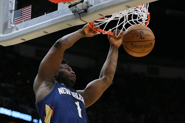 """<a class=""""link rapid-noclick-resp"""" href=""""/nba/players/6163/"""" data-ylk=""""slk:Zion Williamson"""">Zion Williamson</a> made NBA history on Friday in the Pelicans' win over the <a class=""""link rapid-noclick-resp"""" href=""""/nba/teams/cleveland/"""" data-ylk=""""slk:Cavaliers"""">Cavaliers</a>. (Jonathan Bachman/Getty Images)"""
