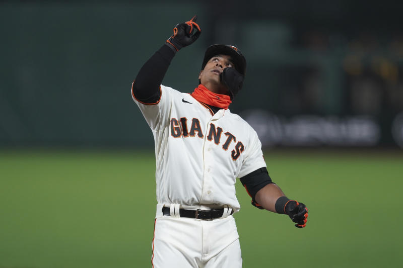 San Francisco Giants' Donovan Solano against the San Diego Padres during a baseball game in San Francisco, Tuesday, July 28, 2020. (AP Photo/Jeff Chiu)