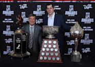 LAS VEGAS, NV - JUNE 20: Evgeni Malkin of the Pittsburgh Penguins poses with Ted Lindsay after winning the Ted Lindsay Award, the Art Ross Trophy and the Hart Trophy during the 2012 NHL Awards at the Encore Theater at the Wynn Las Vegas on June 20, 2012 in Las Vegas, Nevada. (Photo by Bruce Bennett/Getty Images)