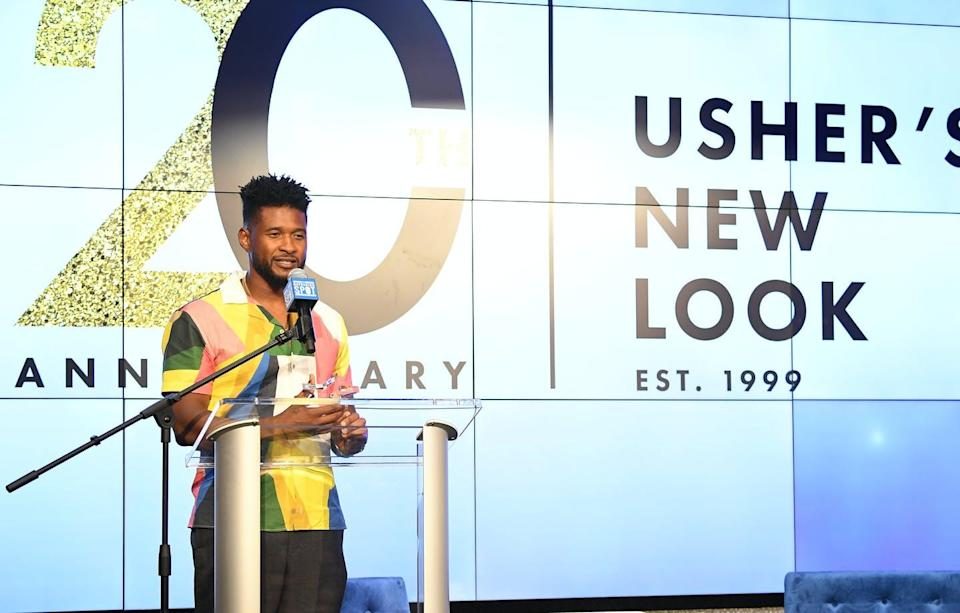 """<span class=""""caption"""">Usher, shown speaking in 2019 at an event hosted by the nonprofit he started, and two other celebrities shot five episodes of the canceled series.</span> <span class=""""attribution""""><a class=""""link rapid-noclick-resp"""" href=""""https://www.gettyimages.com/detail/news-photo/recording-artist-usher-onstage-during-usher-new-look-news-photo/1164061876?adppopup=true"""" rel=""""nofollow noopener"""" target=""""_blank"""" data-ylk=""""slk:Paras Griffin/Getty Images"""">Paras Griffin/Getty Images</a></span>"""