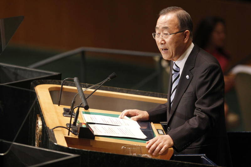 United Nations Secretary-General Ban Ki-moon addresses the 67th session of the United Nations General Assembly at U.N. headquarters Tuesday, Sept. 25, 2012.  (AP Photo/Mary Altaffer)