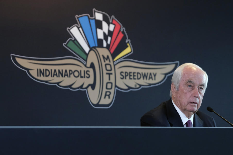 FILE - In this Monday, Nov. 4, 2019, file photo, Penske Corporation Chairman Roger Penske responds to a question during a press conference at Indianapolis Motor Speedway in Indianapolis. Penske completed his purchase of Indianapolis Motor Speedway on Monday, Jan. 6, 2020, becoming just the fourth owner of the historic facility and subsidiaries that include the IndyCar Series.  (AP Photo/AJ Mast, File)