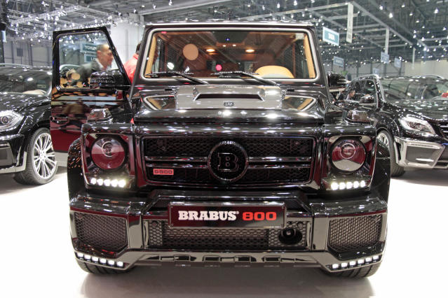 <strong>Brabus G800:</strong>Finished in glossy black with huge wheels and a massive bodykit, the Brabus G800 is what Judge Dredd would use to go off-roading – getting from rest to 62mph in 4.2 seconds along the way. (PA)