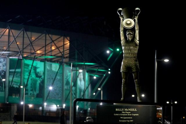 A view of the Billy McNeill statue before a Champions League game against Barcelona (Andrew Milligan/PA)