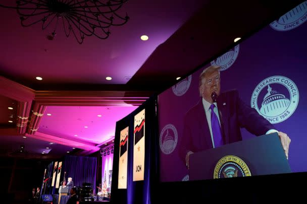 PHOTO: President Donald Trump addresses conservative activists at the Family Research Council's annual gala in Washington, Oct. 12, 2019. (Yuri Gripas/Reuters)
