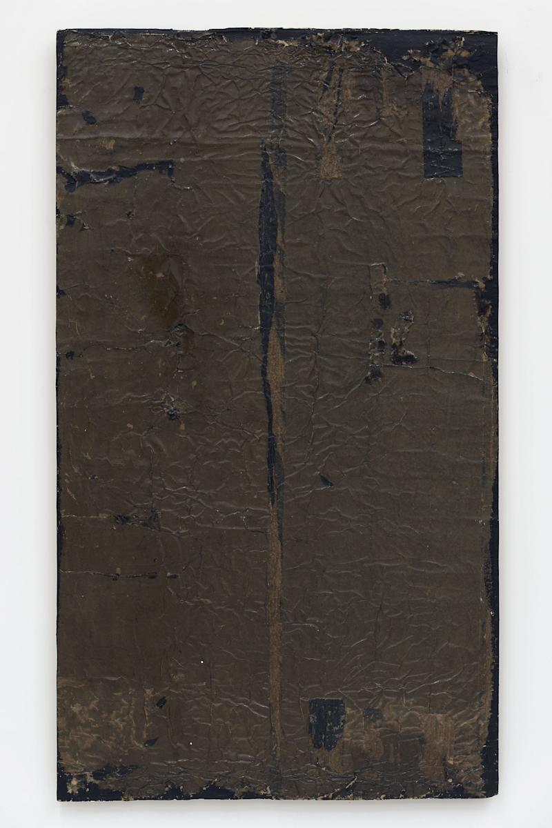 network #0, 2017 Paper, tar, and resin on canvas 58 1/2 x 33 1/4 x 1 1/4 inches
