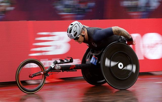 Great Britain's David Weir in action during the elite wheelchair race