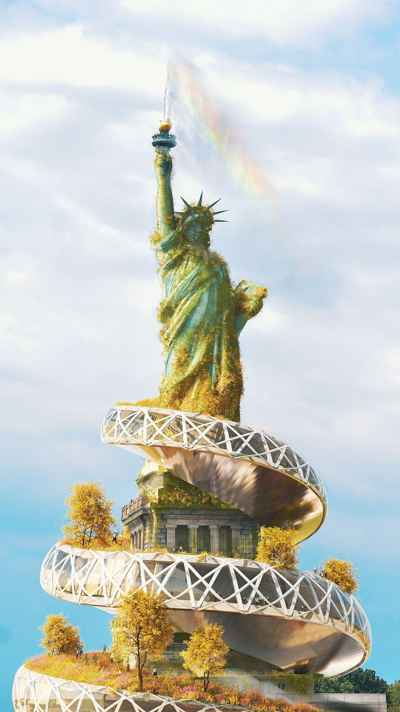<p>In the redesign, the Statue of Liberty has been covered in moss, birch and sequoia trees, and grassy areas to represent the changing seasons in Manhattan. </p><p>'A spiral walkway was placed to add a touch of modernity to the statue,' adds Yaniv. 'A fountain has also been created in the statue's signature torch to signify a connection to America's great lakes and surrounding coastline.'<br></p>