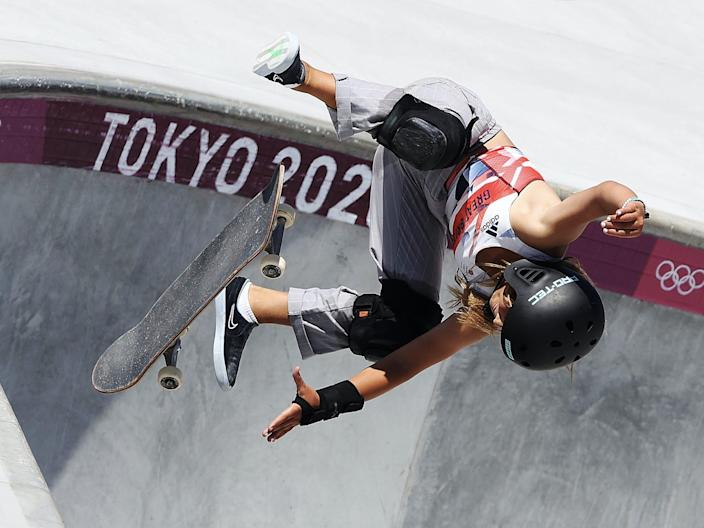 Sky Brown gets air at the Tokyo Olympics.
