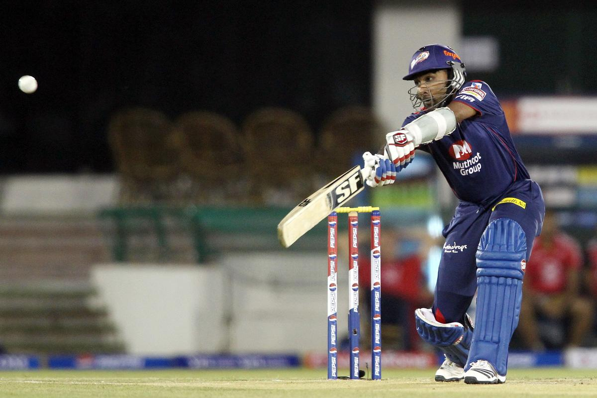 Delhi Daredevils captain Mahela Jayawardene plays the  delivery to the third man boundary during match 39 of the Pepsi Indian Premier League between The Delhi Daredevils and the Pune Warriors India held at the Chhattisgarh International Cricket Stadium in Raipur on the 28th April 2013. (BCCI)