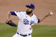Los Angeles Dodgers starting pitcher David Price throws to the plate during the second inning of a baseball game against the Arizona Diamondbacks Thursday, May 20, 2021, in Los Angeles. (AP Photo/Mark J. Terrill)