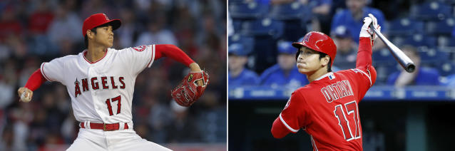 FILE - At left, in an April 17, 2018, file photo, Los Angeles Angels starting pitcher Shohei Ohtani throws against the Boston Red Sox during the first inning of a baseball game, in Anaheim, Calif. At right, in an April 13, 2018, file photo, Angels' Shohei Ohtani hits a double during the second inning of a baseball game against the Kansas City Royals, in Kansas City, Mo. Former major-leaguers such as Dave Winfield, Todd Helton and Mark Kotsay were great pitchers and hitters as collegians but had to give up dual roles to be position players as pros. With the hubbub over Japanese two-way sensation Shohei Ohtani, Louisville coach Dan McDonnell says the time has come for collegians excelling as pitchers and hitters to get more opportunities to do both as professionals. (AP Photo/File)