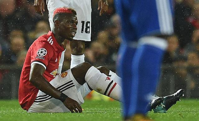 Manchester United's Paul Pogba injured his hamstring in the Champions League victory over Basel at Old Trafford on September 12, 2017 (AFP Photo/Oli SCARFF )