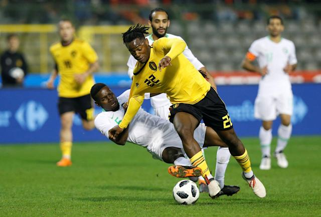"Dortmund striker Michy Batshuayi claims he was subject to racial abuse from <a class=""link rapid-noclick-resp"" href=""/soccer/teams/atalanta/"" data-ylk=""slk:Atalanta"">Atalanta</a> fans in Italy last month. UEFA dropped its investigation into the complaint on Thursday. (REUTERS)"