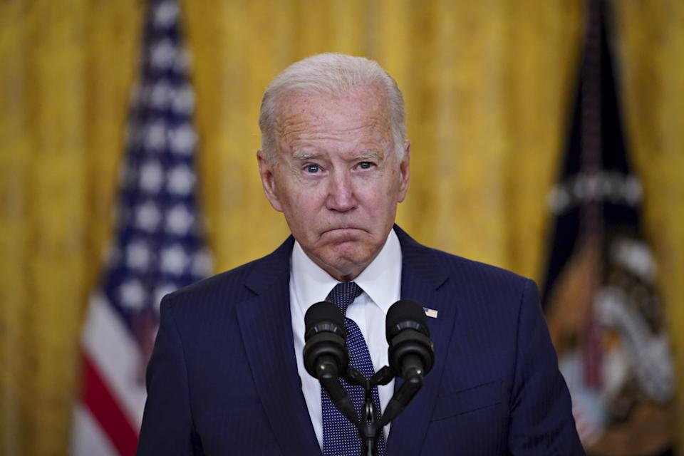 US President Joe Biden pauses for a moment of silence while speaking at the White House. Source: Getty
