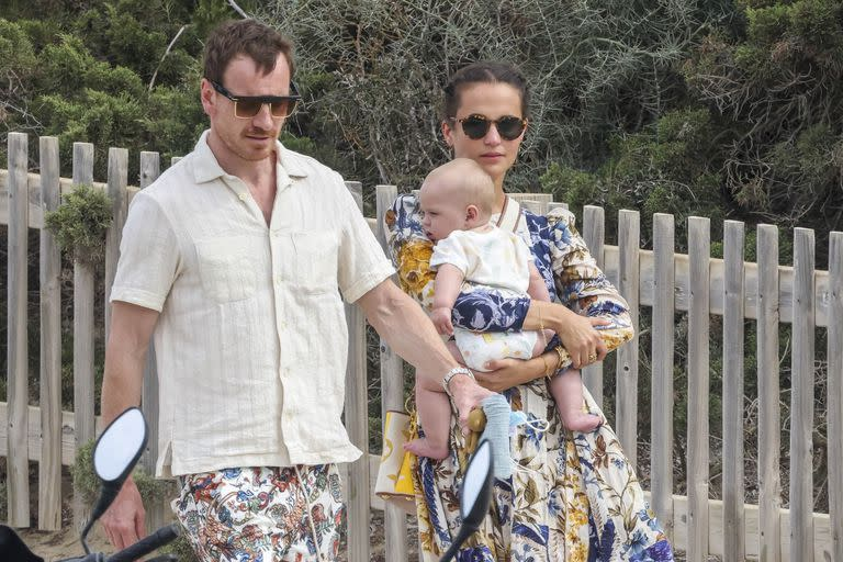 Alicia Vikander and Michael Fassbender with their son in Ibiza