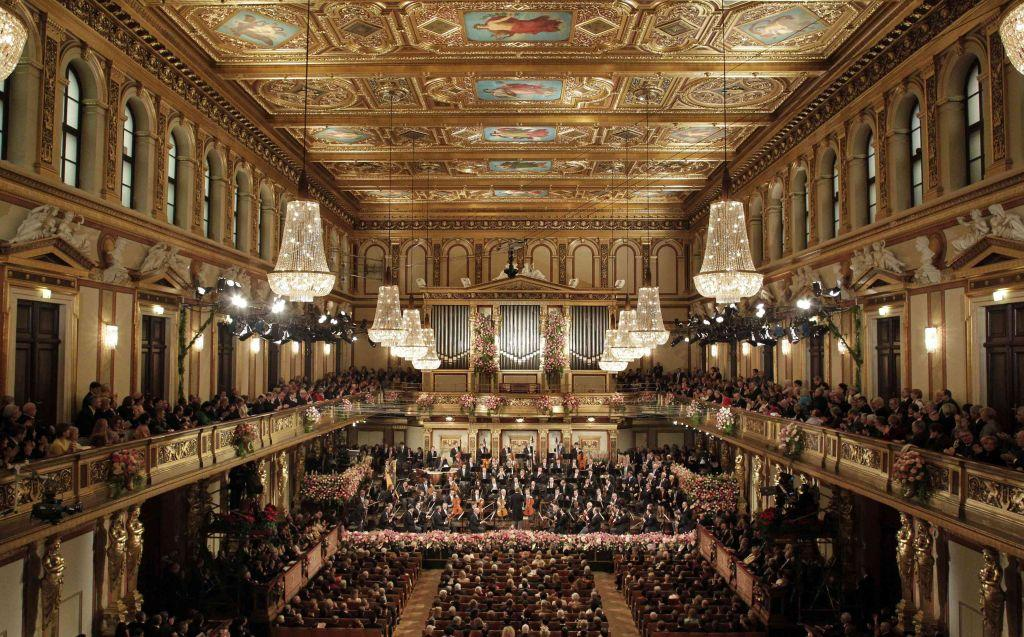 Maestro Franz Welser-Moest conducts the Vienna Philharmonic Orchestra during the traditional New Year's Concert in the Golden Hall of the Vienna Musikverein in Vienna January 1, 2013. The concert is broadcast by over 70 television networks and 300 radio stations worldwide.
