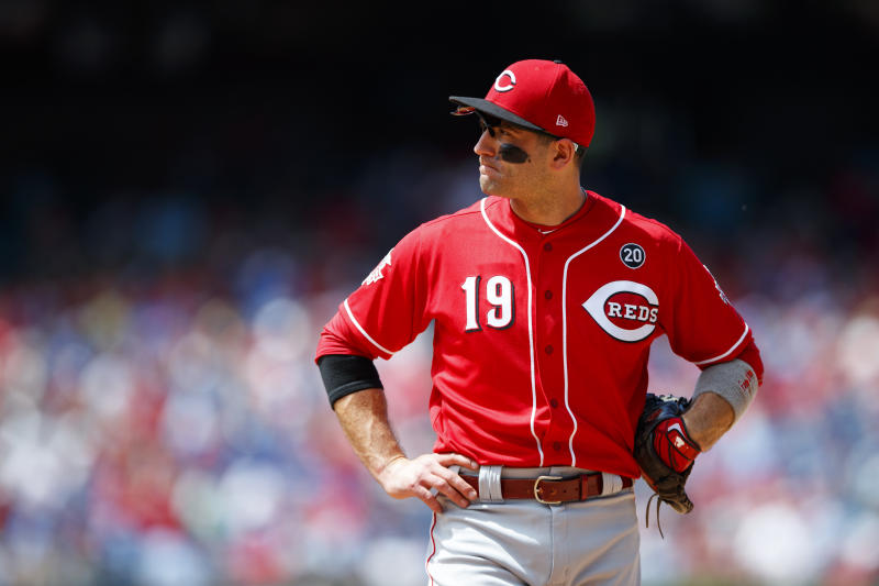 Joey Votto says he's making a change after the death of George Floyd. (AP Photo/Matt Slocum)