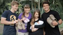 """<p>At just 1 week old, little Grace had her <a href=""""https://people.com/parents/bindi-irwin-april-fools-joke-baby-grace-first-croc-encounter/"""" rel=""""nofollow noopener"""" target=""""_blank"""" data-ylk=""""slk:first &quot;croc&quot; interaction and very first prank."""" class=""""link rapid-noclick-resp"""">first """"croc"""" interaction <em>and </em>very first prank.</a></p> <p>In an April Fools' Day joke, the Irwin family gathered for a photo holding pairs of Crocs shoes. Grace's grandma Terri Irwin shared the photo on Twitter, <a href=""""https://twitter.com/TerriIrwin/status/1377539553783816195"""" rel=""""nofollow noopener"""" target=""""_blank"""" data-ylk=""""slk:writing"""" class=""""link rapid-noclick-resp"""">writing</a>, """"Beautiful baby Grace, first croc encounter... April Fool's!""""</p>"""