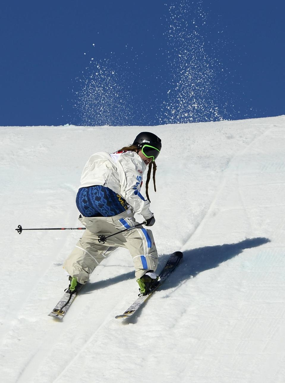 Sweden's Henrik Harlaut slides during the men's freestyle skiing slopestyle qualification round at the 2014 Sochi Winter Olympic Games in Rosa Khutor February 13, 2014. REUTERS/Dylan Martinez (RUSSIA - Tags: SPORT SKIING OLYMPICS TPX IMAGES OF THE DAY)