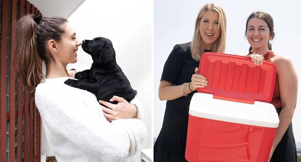 Eleanor Baillieu hugs a dog (left) while Erin Boutros and Elise Mason hold an empty red esky (right).