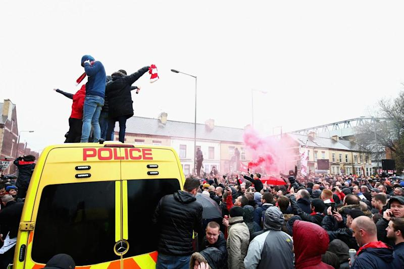 Fans gathered outside the ground ahead of the semi-final tie (Getty Images)
