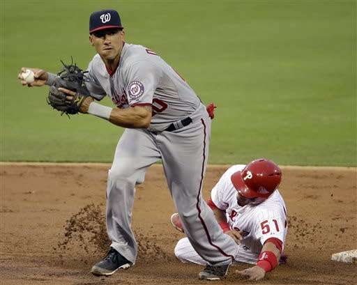 Washington Nationals shortstop Ian Desmond, left, prepares to throw to first base as Philadelphia Phillies' Carlos Ruiz slides past second in the third inning of a baseball game on Wednesday, July 10, 2013, in Philadelphia. Cliff Lee was safe at first base and Ruiz was safe at second on a fielding error by Desmond on the play. (AP Photo/Matt Slocum)