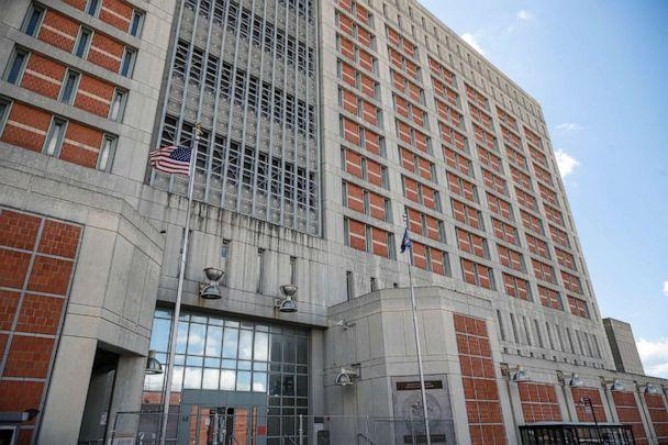 PHOTO: In this Tuesday, July 14, 2020, photo, fencing protects the main entrance of the Metropolitan Detention Center where British socialite Ghislaine Maxwell is being held in the Brooklyn borough of New York. (John Minchillo/AP, FILE)