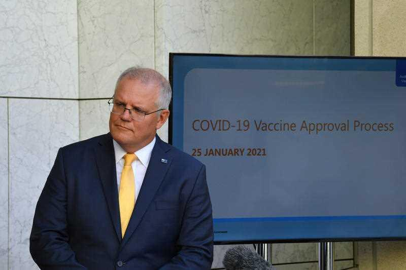 Prime Minister Scott Morrison at press conference at Parliament House in Canberra