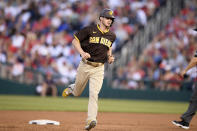 San Diego Padres' Wil Myers rounds the bases on his grand slam during the second inning of a baseball game against the Washington Nationals, Friday, July 16, 2021, in Washington. (AP Photo/Nick Wass)